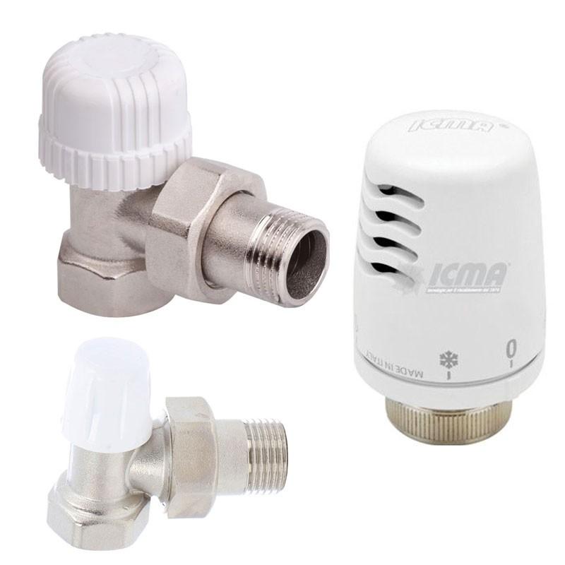 Poza Set robineti tur-retur cu cap termostatic ICMA 1/2. Poza 16777
