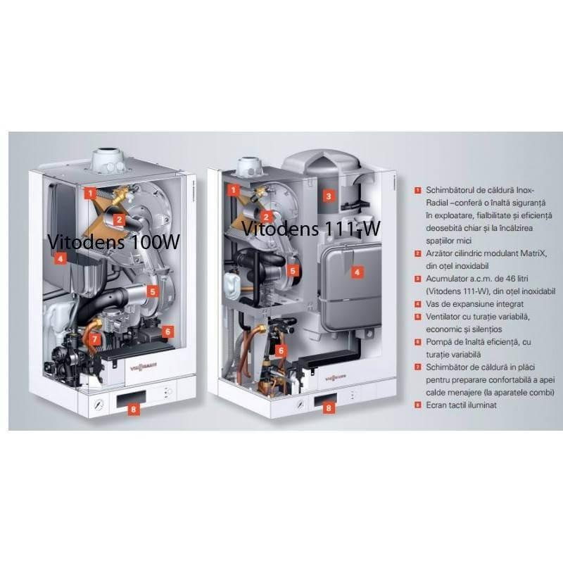 Poza Centrala termica in condensare cu touchscreen Viessmann Vitodens 100-W 26 kw B1HC178 numai incalzire. Poza 14690