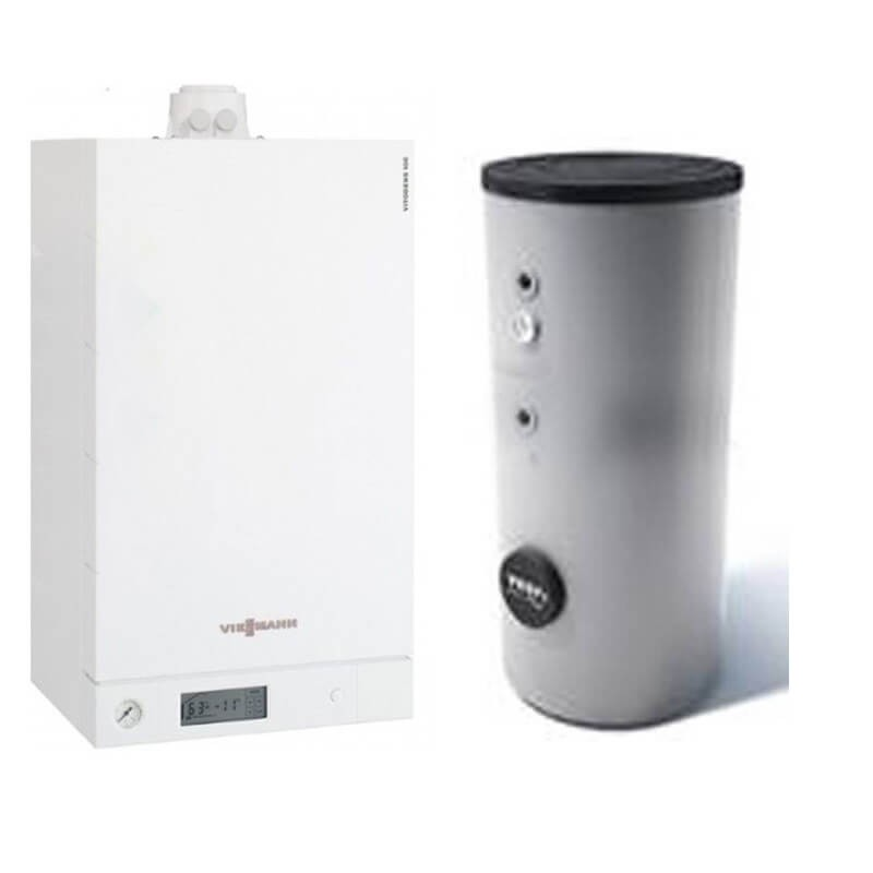 Poza Centrala termica Viessmann Vitodens 100-W 26 kw B1HC178 numai incalzire, condensatie, boiler doua serpentine Tesy 200 litri. Poza 18252