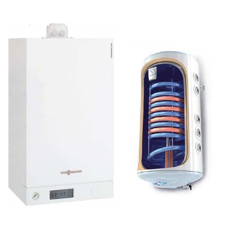 Poza Centrala termica Viessmann Vitodens 100-W 35 kw B1HC179 numai incalzire, condensatie, Boiler Termoelectric 2 serpentine Tesy 150 litri. Poza 18256