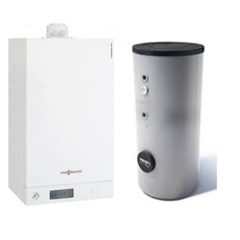Poza Centrala termica Viessmann Vitodens 100-W 35 kw B1HC179 numai incalzire, condensatie, Boiler doua serpentine Tesy 200 litri. Poza 18260