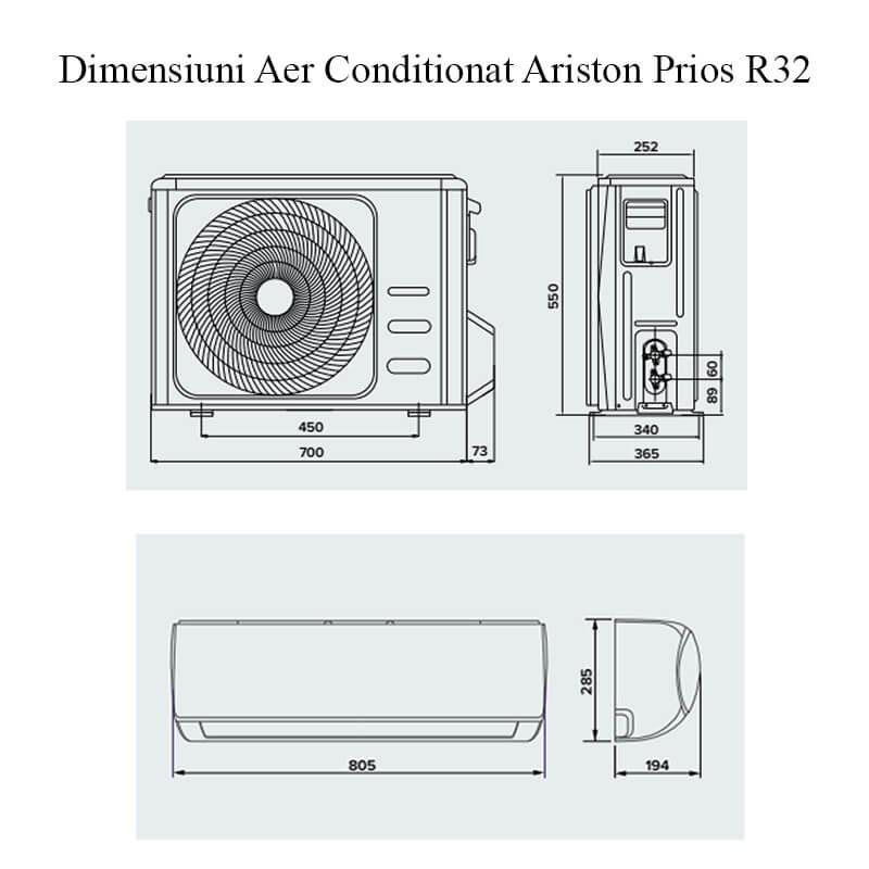 Poza Aer conditionat Ariston Prios R32 25 Mudo 9000 Btu, agent frigorific R32, clasa energetica A++. Poza 18423