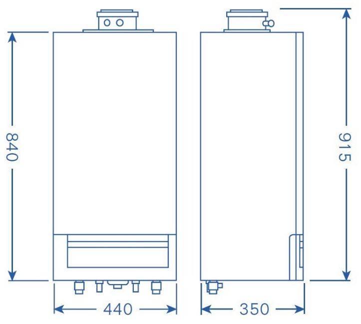 Dimensiuni centrala termica in condensatie Buderus Logamax Plus GB 172 IK - 35 kW negru