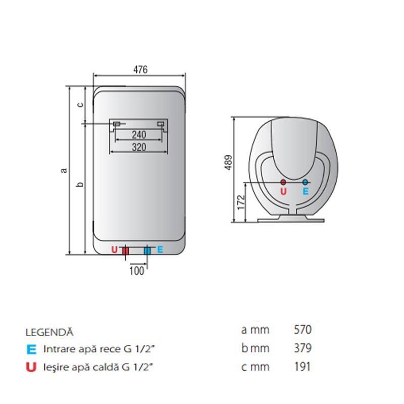 Poza Dimensiuni Boiler electric Ariston Shape Eco EVO 50 V 1,8 K EU 50 litri