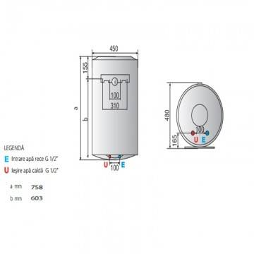 Poza Dimensiuni Boiler electric Ariston Pro Plus 80 V 1,8K EU 80 litri