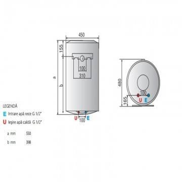 Poza Dimensiuni Boiler electric Ariston Pro Eco EVO 50 V 1,8K EU 50 litri