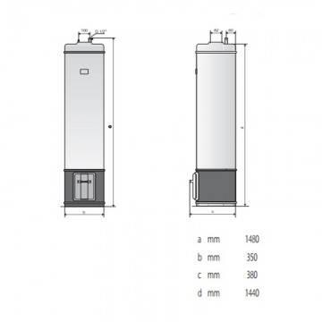 Poza Dimensiuni Boiler pe lemne Ariston SL/3 80 litri