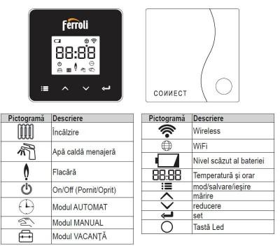 Poza Cronotermostat de ambient cu radio frecventa Ferroli Connect WI-FI. Poza 16241