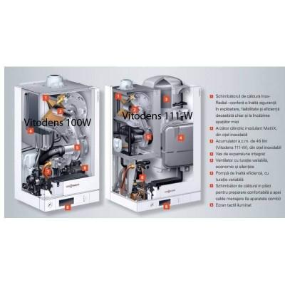 Poza Centrala termica in condensare cu touchscreen Viessmann Vitodens 100-W 35 kw B1HC179 numai incalzire. Poza 14693
