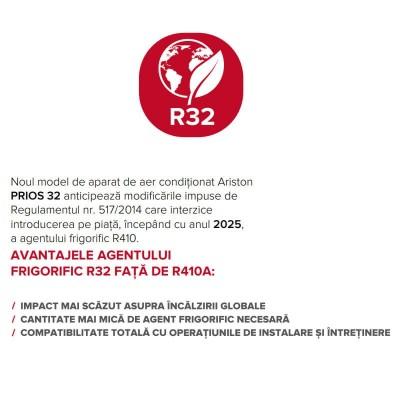 Poza Aer conditionat Ariston Prios R32 25 Mudo 9000 Btu, agent frigorific R32, clasa energetica A++. Poza 18422