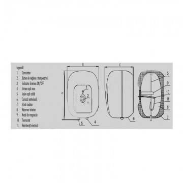 Poza Boiler electric Ferroli Cubo SG 10 SVE 1.5 10 litri - dimensiuni si componente