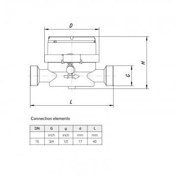 Poza Dimensiuni contor apa calda Apator JS 1.6 Smart+ -1/2