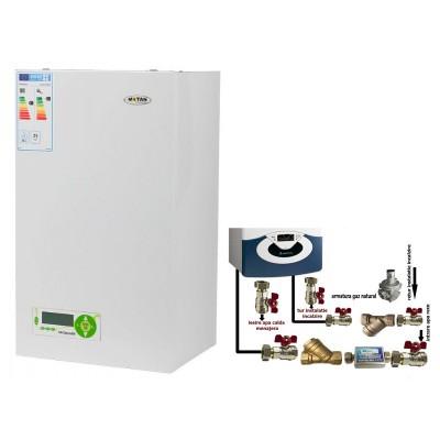 Poza Pachet centrala termica in condensatie cu tiraj fortat Motan MkDens 25 Erp - 25 kW + pachet pentru instalare centrala termica murala